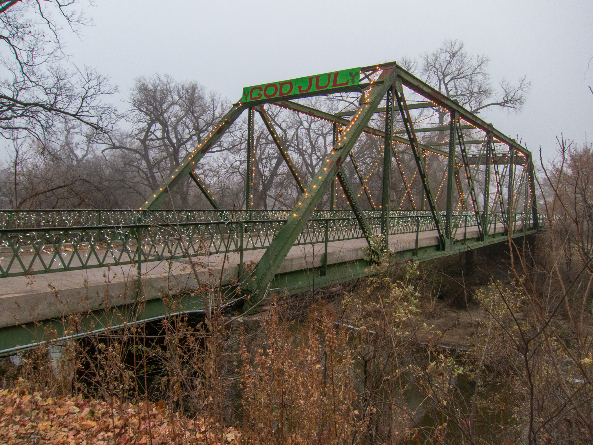 Foggy Smoky Hill River Bridge