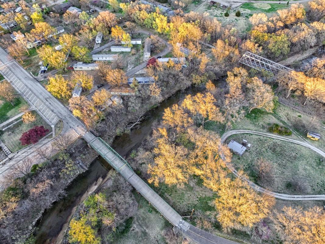 Aerial view of both bridges