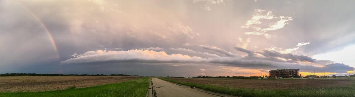 Rainbow, Storm Cloud, Sunset Panorama