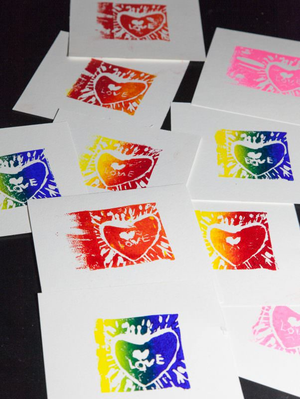 My First Linocuts - Lots of Colorful Love!