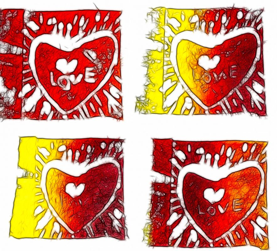 My First Linocuts - Yellow & Red, fractalized!