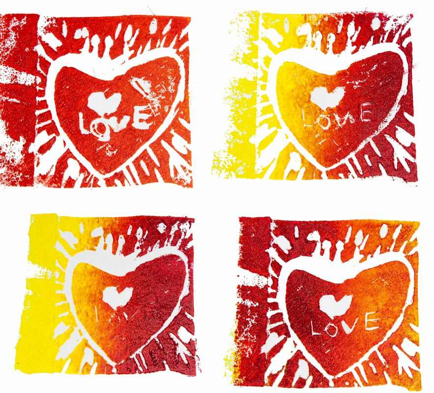 My First Linocuts - Yellow & Red!