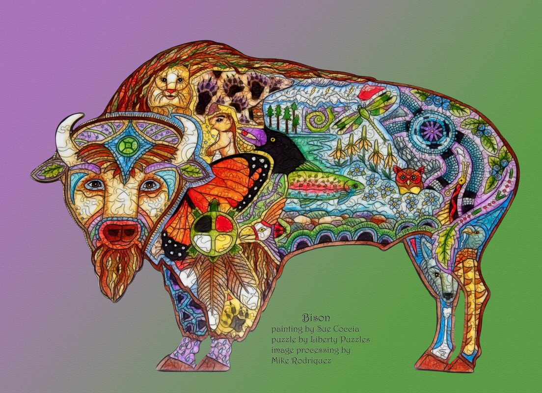 Bison Puzzle: fractalized and titled