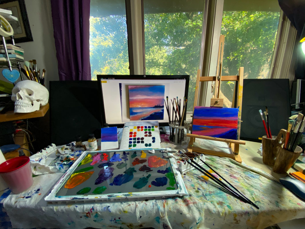 Cozy painting studio