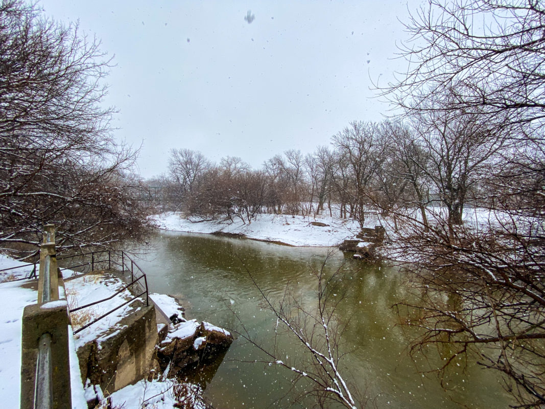 Snowy Day at the Old Mill in Lindsborg