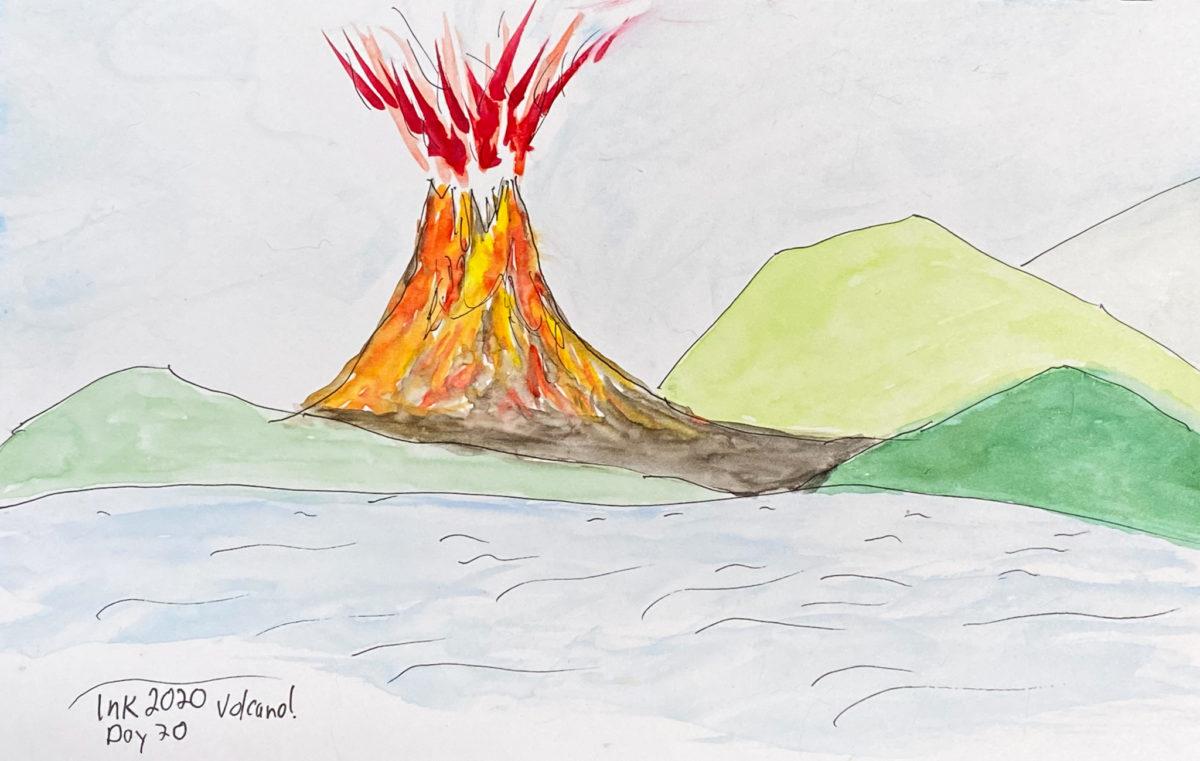 Inktober Day 20 - Volcano