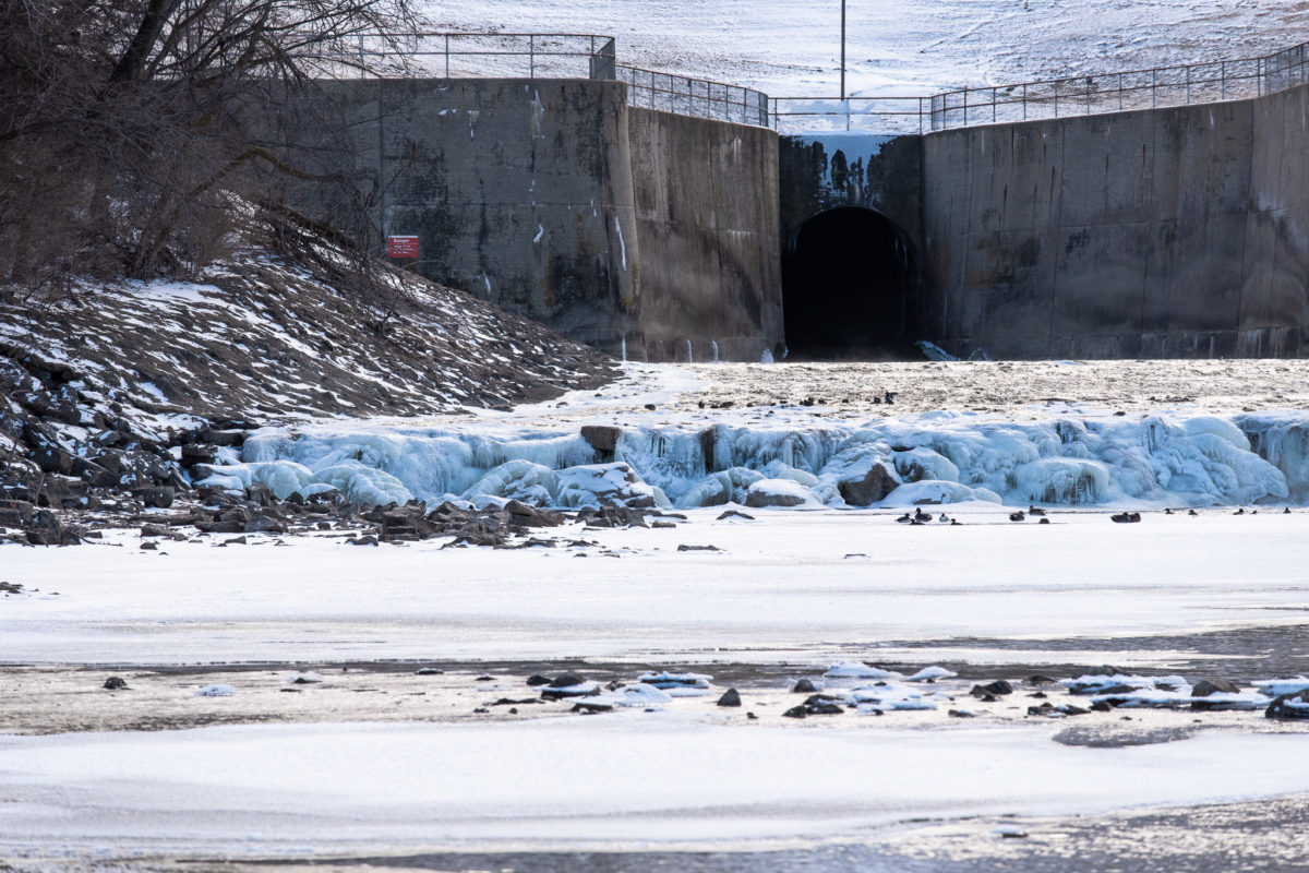 frozen spillway at Kanopolis Lake
